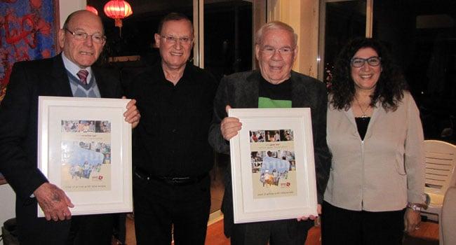 """מימין: אורלי תמיר; יוסי דהן; פרופסור אריה סקופ, יו""""ר עמותת מחשב לכל ילד; וצבי אלדרוטי"""
