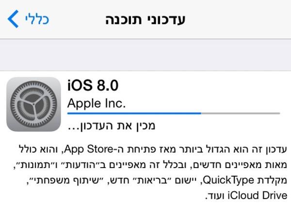 ניתנת להורדה. iOS 8