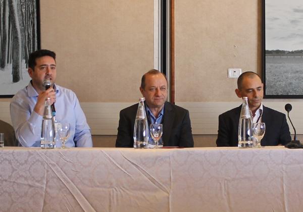 """משמאל לימין: רו""""ח חיים סקאל, מנכ""""ל ביס-טק,אלכס מילשטיין, מייסד Seculert, שי סימקין, מנכ""""ל Howden ישראל"""