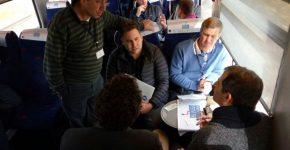 """יזמים ומשקיעים במהלך הנסיעה הבוקר (ג'). צילום: יח""""צ"""