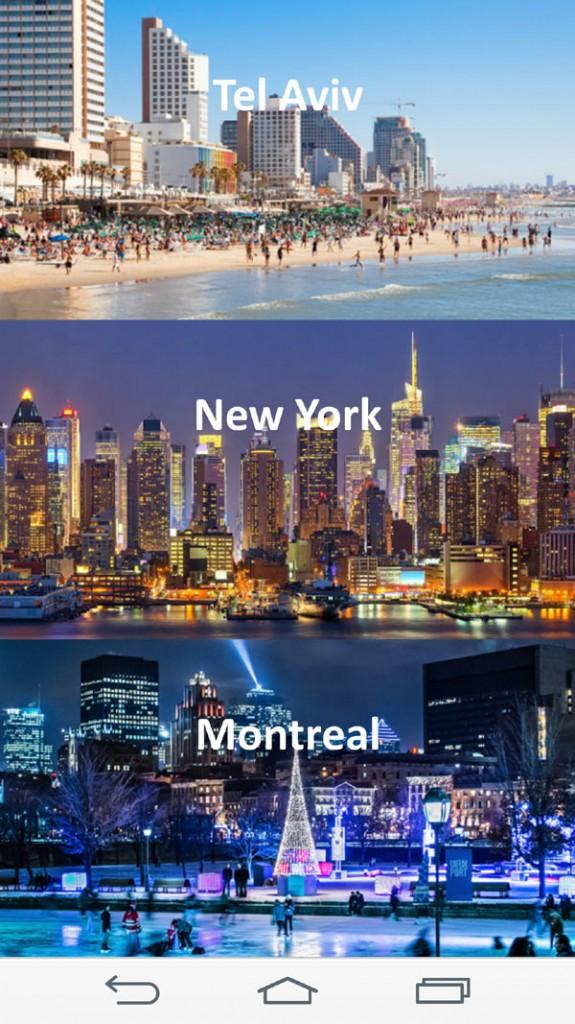 שלוש מ-15 הערים ב-Kiki Scene. מתוך האפליקציה