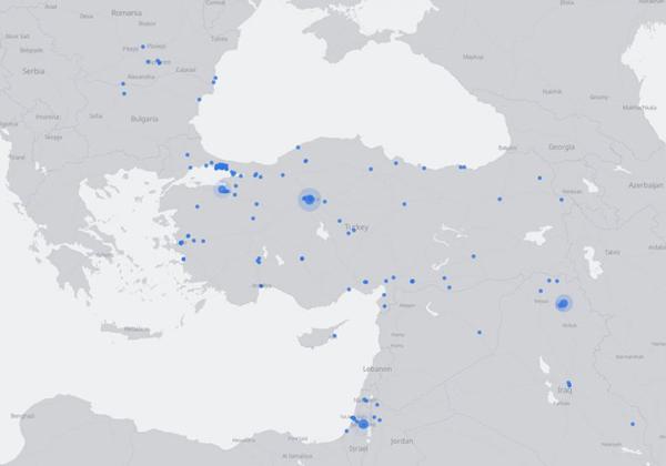 הנקודות מסמלות שידורים ב-Facebook Live בזמן אמת, בעת המהפכה בטורקיה. שימו לב לנוכחות הבולטת בטורקיה - אבל גם בישראל