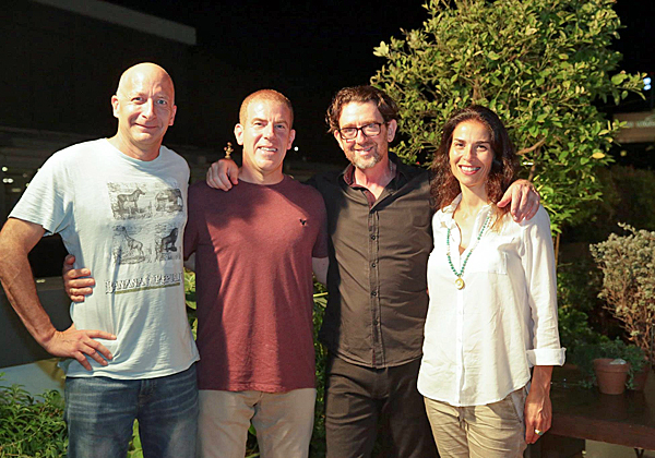 """מימין: חני עדין; יואש טרוקמן; איש הטלויזיה גלעד עדין; ואופיר בר און, סמנכ""""ל השיווק והפיתוח העסקי של אלעד"""