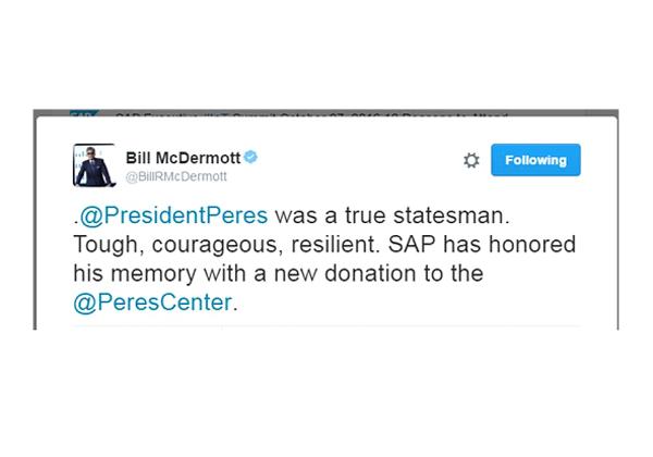"""הציוץ של ביל מק'דרמוט, מנכ""""ל סאפ, לזכרו של שמעון פרס ז""""ל"""