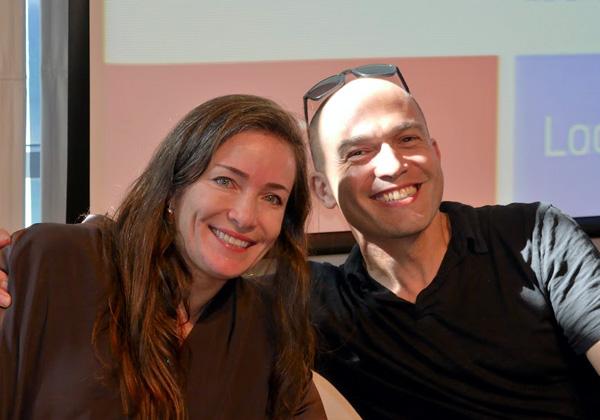 """מימין: גיגי לוי, יזם סדרתי ומייסד האקסלרטור NFX Guild, וליאת אהרונסון, יו""""רית מרכז זל ליזמות"""