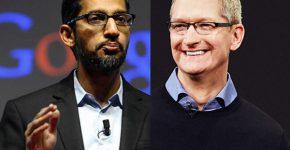 """נגד הגזענות. מימין: טים קוק, מנכ""""ל אפל, וסונדאר פיצ'אי, מנכ""""ל גוגל. צילומים: BigStock ויח""""צ בהתאמה"""