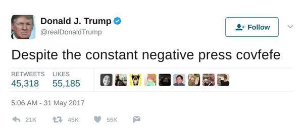 נוסטלגיה. covfefe - הציוץ המפורסם של טראמפ