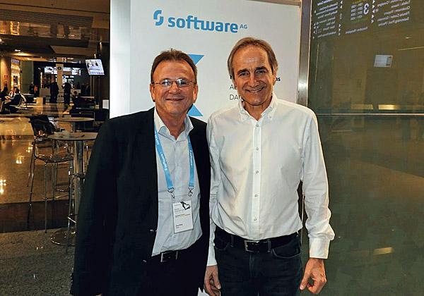"""קארל היינץ שטרייביך, מנכ""""ל Software AG, עם ערן אלראי, מנכ""""ל הסניף הישראלי של החברה. צילום: פלי הנמר"""
