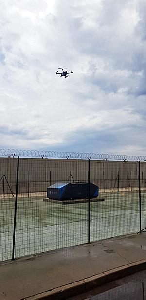 """הרחפן של פרספטו נוחת בתחנת הכוח של Enel. צילום: יח""""צ"""
