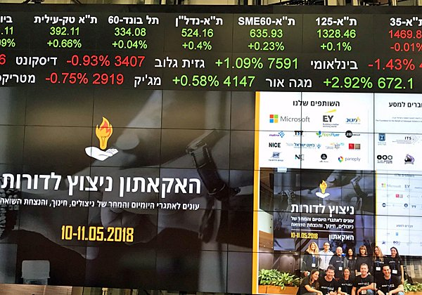 ההזמנה להאקתון והנתונים הבורסאיים - בבורסה בתל אביב. צילום: ויקי לוי