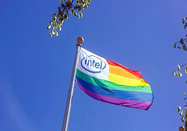 """דגל הגאווה בקמפוס של אינטל ישראל. צילום ארכיון: יח""""צ"""