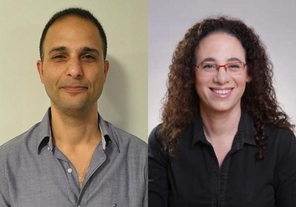 """מימין: פנינה זינגר, מנהלת מחלקת ניהול פרויקטים ב-P.Z. Projects; וגדי בנימין, מנמ""""ר שיש אלוני. צילום: יח""""צ"""