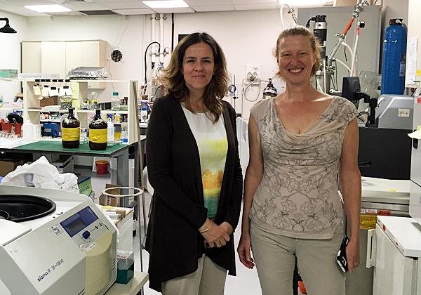 """מימין: איילת שטיינברג, מנכ""""לית האצ'יסון כנרות, וד""""ר גאיה לורן, מנהלת הטכנולוגיות של החממה. צילום: יח""""צ"""