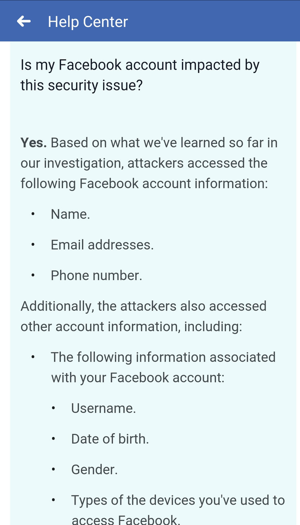 צילום מסך של קטע מתוך הודעת פייסבוק לנפגעים