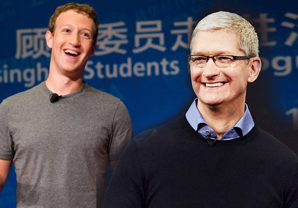 """יחסי איבה. טים קוק, מנכ""""ל אפל, ומארק צוקרברג, מייסד פייסבוק"""