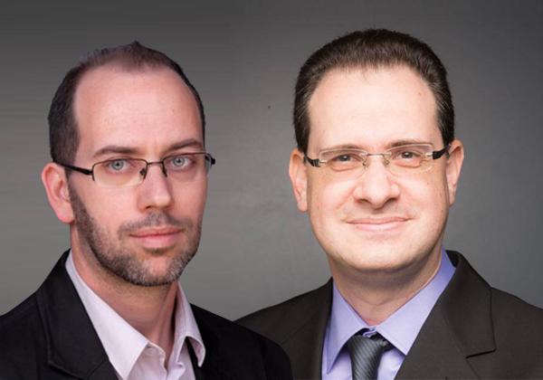 "מימין: אייל אסטרין, ארכיטקט פתרונות ענן במרכז החישובים הבין אוניברסיטאי, וניר צ'רבוני סמנכ""ל אבטחת מידע ב-Credorax. צילופ: יח""צ"
