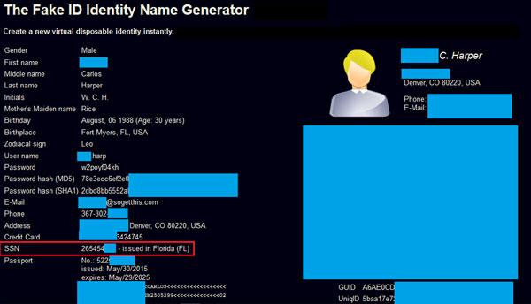 """למעלה: מחולל זהויות פיקטיביות וסינתטיות בדארקנט. עם הזנה של פרטים בודדים ניתן לקבל זהות דיגיטלית חדשה הכוללת פרטים אישיים כמו שם מלא, תאריך לידה, שמות משתמש וסיסמאות, דוא""""ל, מספר כרטיס אשראי גנוב, מספר ביטוח לאומי גנוב (מסומן באדום), דרכון ועוד. מקור: BioCatch/דניאל שקדי."""