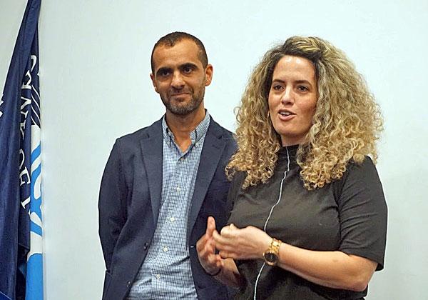 מימין: חנה עמר, ראשת אגף תשתיות פיננסיות בבנק ישראל; ועירון זדה, מנהל הפרויקט מטעם מטריקס. צילום: פלי הנמר