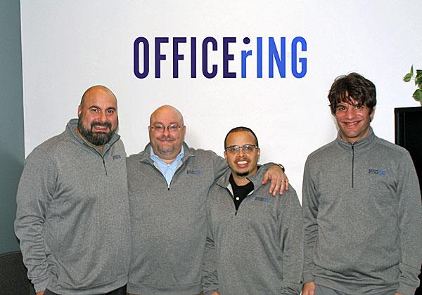 """מימין: שלומי גוטמן, סמנכ""""ל הפיתוח של Voicenter; דניאל רואיז, מנהל התפעול של OfficeRing; אלכס גוליס, מנכ""""ל OfficeRing; וקונסטנטין אפטרואשיו, מנהל המכירות של החברה. צילום: יח""""צ"""