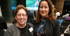 """מימין: עו""""ד מיטל סבינסקי ממשרד עורכי הדין הולנד & נייט; ואיימי מילמן, נשיאת תאגיד Springboard. צילום: יח""""צ"""