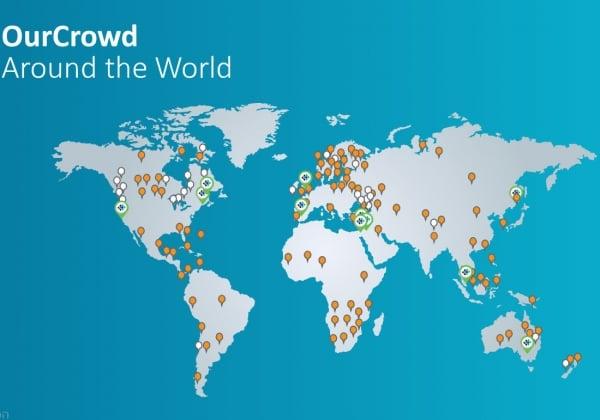 מפת פריסת הפעילות של OurCrowd בעולם. מתוך אתר החברה