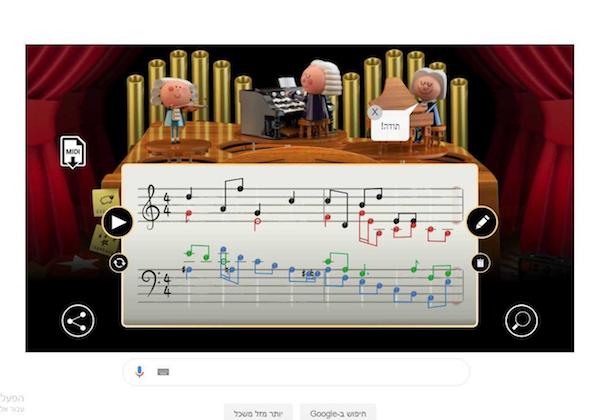 הדודל לכבוד יום ההולדת ה-334 של המלחין הקלאסי יוהאן סבסטיאן באך. צילום מסך