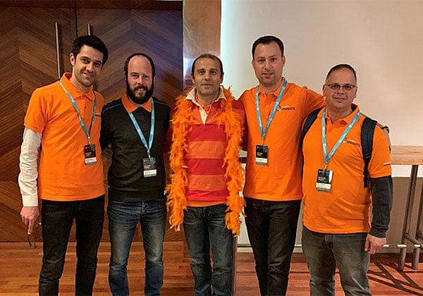 """מימין: ניר רפאל; גיל בצלאל; מיגל סוארז, מנהל שותפים טכני בסימנטק אירופה; גיא מאור; ומשה דבוש. צילום: יח""""צ"""