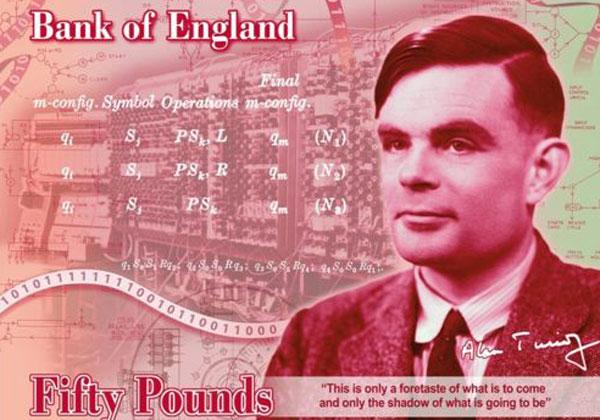 השטר החדש עם דמותו של אלן טיורינג. מקור: הבנק של אנגליה