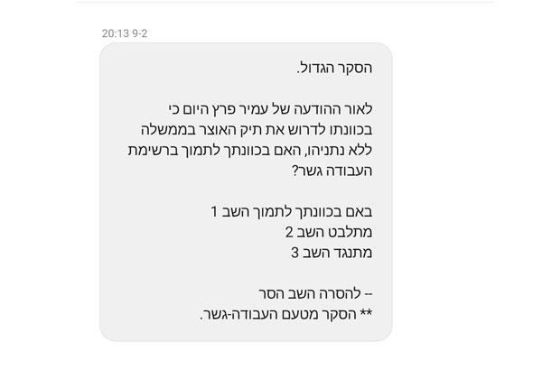 דוגמה ל-SMS מהסוג שהמפלגות אוהבות לשלוח, אבל אנחנו פחות אוהבים לקבל. צילום מסך