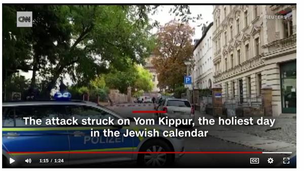 דיווח על פיגוע יום הכיפור הנורא ב-CNN. צילום מסך
