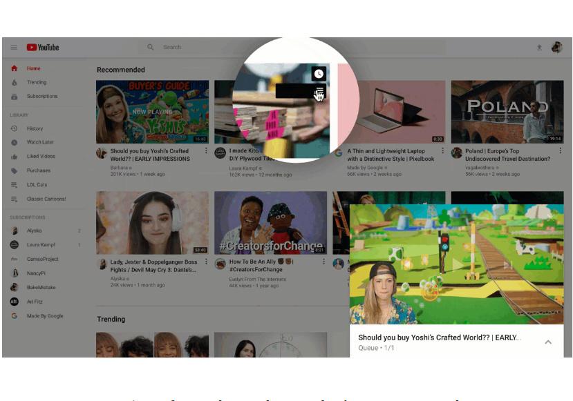 תצוגה מוקדמת לסרטונים, ועוד שינויים. יוטיוב. צילום מסך מאתר גוגל