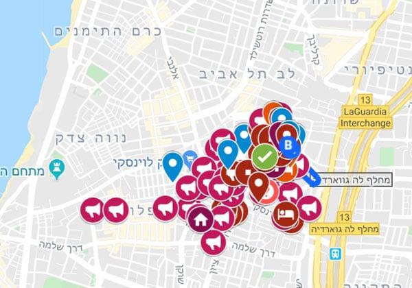 המפה האינטראקטיבית של דרום תל אביב בקריז