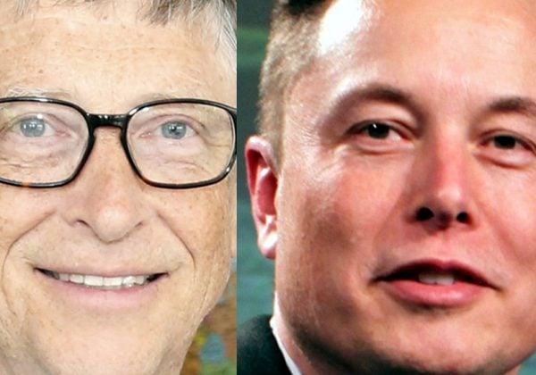 """לא מאוהבים. אילון מאסק, מנכ""""ל טסלה, וביל גייטס, מייסד מיקרוסופט. צילום: וויקיפדיה"""