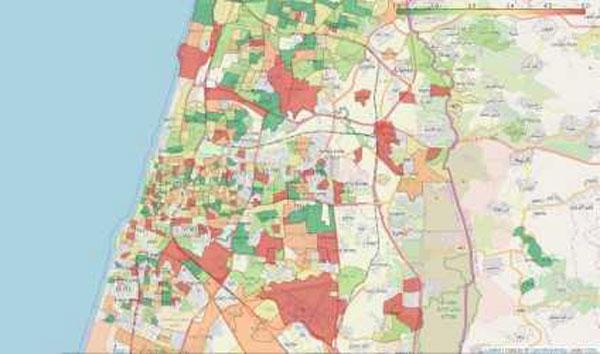מפה אזורית של ממוצע סימפטומים המאפיינים את הקורונה. במפה מוצגים אזורים בערים שונות, שבהם יש לפחות 30 מגיבים לשאלון, או שכונות עם לפחות 10 מגיבים. כל אזור נצבע על פי קטגוריה שנקבעה בהתאם לכמות הממוצעת של סימפטומים שדווחו על ידי המגיבים באזור זה: ירוק - אחוז סימפטומים נמוך, אדום - אחוז גבוה. מקור: מכון ויצמן