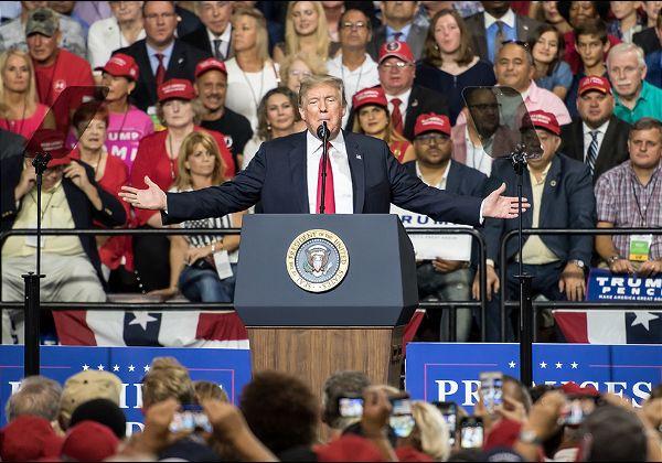 עצרת שלו הוכשלה במכוון על ידי טיק-טוקיסטים. דונלד טראמפ בעצרת בחירות קודמת ב-2018. צילום אילוסטרציה: BigStock
