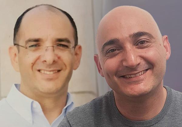 """מימין: ליאור ג'ורג'י, מנהל אגף תשתיות טכנולוגיות בבנק ישראל, וכפיר אדרי, מנהל יחידת שירותי מחשוב באגף התשתיות בבנק. צילומים: יח""""צ"""