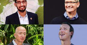 """העידו בחקירת הקונגרס. מנכ""""ל אפל, טים קוק, מנכ""""ל גוגל, סונדר פיצ'אי. למטה מימין: מנכ""""ל פייסבוק, מארק צוקרברג ומנכ""""ל אמזון, ג'ף בזוס. צילומים: וויקיפדיה ו-BigStock"""