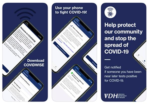 COVIDWIZE - האפליקציה של מדינת וירג'יניה למעקב מגע. צילום מסך: נחמה אלמוג