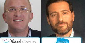 """מימין: גיום עטיה, סמנכ""""ל Alliances and Channels של סיילספורס ישראל, ועמית דובר, משנה למנכ""""ל קבוצת יעל. צילום: יח""""צ"""