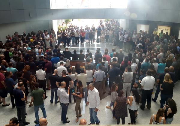 אסיפה של עובדי בזק בינלאומי. צילום ארכיון: ועד עובדי החברה