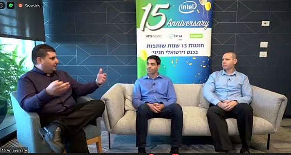 """מימין לשמאל: לירן מצליח, מומחה טכני בכיר, Lenovo DCG; אריק מורנו, מהנדס פתרונות בכיר, VMware; ואבינועם צ'אפלוי, מנהל מחלקת SE, הראל טכנולוגיות מידע. צילום: יח""""צ"""