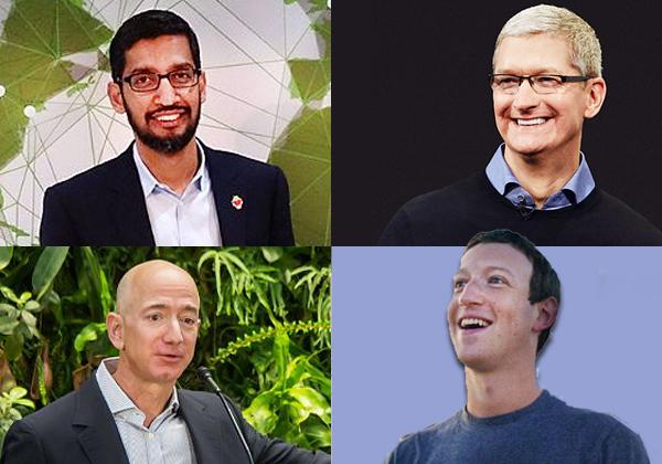 """למעלה מימין ונגד כיוון השעון: מנכ""""ל אפל, טים קוק, מנכ""""ל גוגל, סונדר פיצ'אי. מנכ""""ל פייסבוק, מארק צוקרברג ומנכ""""ל אמזון, ג'ף בזוס. נחקרו בנושא הגבלים עסקיים. צילומים: ויקיפדיה ו-BigStock"""