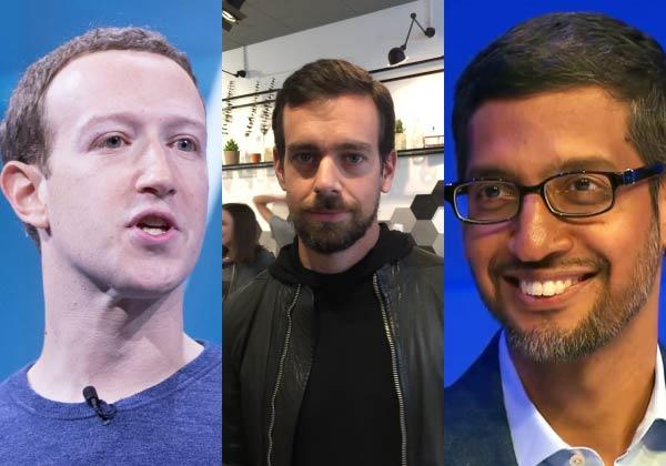 """מימין: סונדר פיצ'אי, ג'ק דורסי ומארק צוקרברג, מנכ""""לי גוגל, טוויטר ופייסבוק. צילום מעובד מוויקיפדיה ומ-BigStock"""
