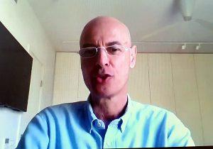 """עדן בר טל, מנכ""""ל המשרד לשיתוף פעולה אזורי, בכנס אתמול (ג'). צילום מסך: פלי הנמר"""