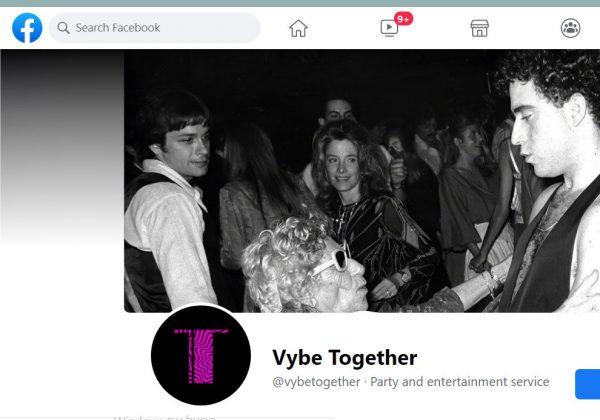 שירות לארגון מסיבות אסורות. Vybe Together. צילום מסך מדף הפייסבוק