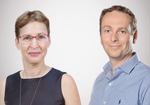 מימין לשמאל: אמיר שרי, מנהל חטיבת פתרונות פיננסים וטכנולוגיות, ודליה רובינסון, מנהלת החטיבה הבינלאומית, מטריקס. צילום: עידן גרוס