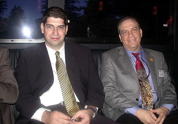 """פלי הנמר ואבנר שטראוס בדרך לסדנת מנהלים במטה יבמ בניו-יורק. צילום: יח""""צ"""
