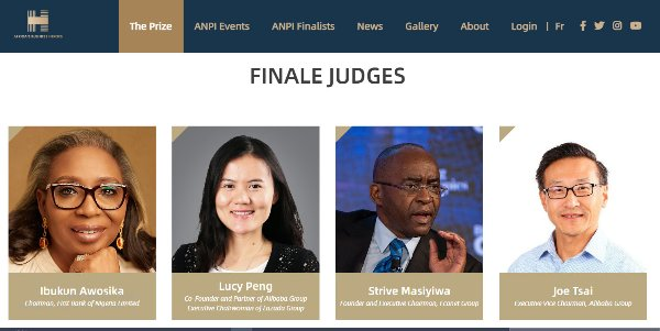 """תמותו של מא הוסרה. שופטי הגמר של """"גיבורי העסקים של אפריקה"""". צילום מסך מתוך האתר של התכנית"""