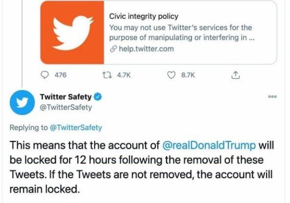 חשבונו החסום של דונלד טראמפ בטוויטר. צילום מסך