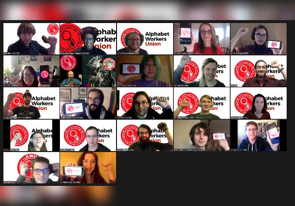 עובדי גוגל שלוקחים חלק באיגוד עובדי אלפבית בפגישת זום. צילום: איגוד עובדי אלפבית